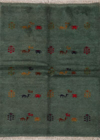 Animals Tribal Gabbeh Shiraz Persian Area Rug 4x5
