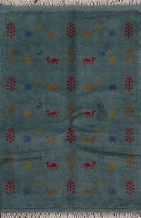Animals Tribal Teal Blue Gabbeh Shiraz Persian Rug 3x5