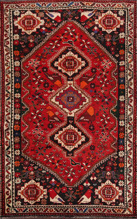 Tribal Animals Design Red Shiraz Persian Area Rug 6x9