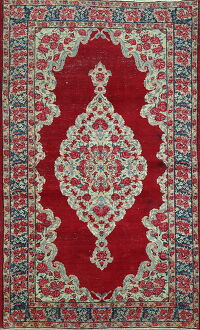 Antique Floral Red Kerman Persian Area Rug 4x7