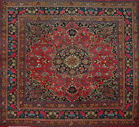 Vintage Floral Red Mashad Persian Area Rug 10x10 Square