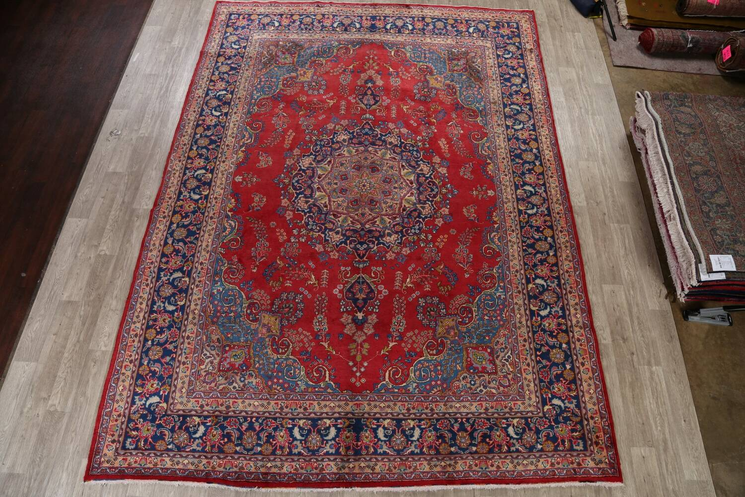 Vintage Floral Red Mashad Persian Area Rug 9x13 image 2