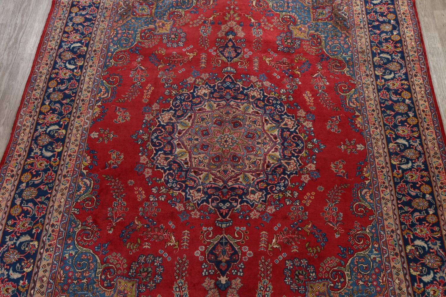 Vintage Floral Red Mashad Persian Area Rug 9x13 image 3