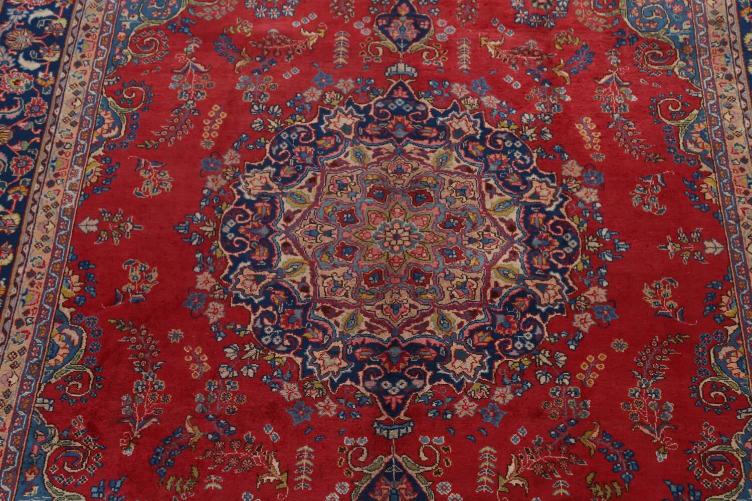 Vintage Floral Red Mashad Persian Area Rug 9x13 image 4