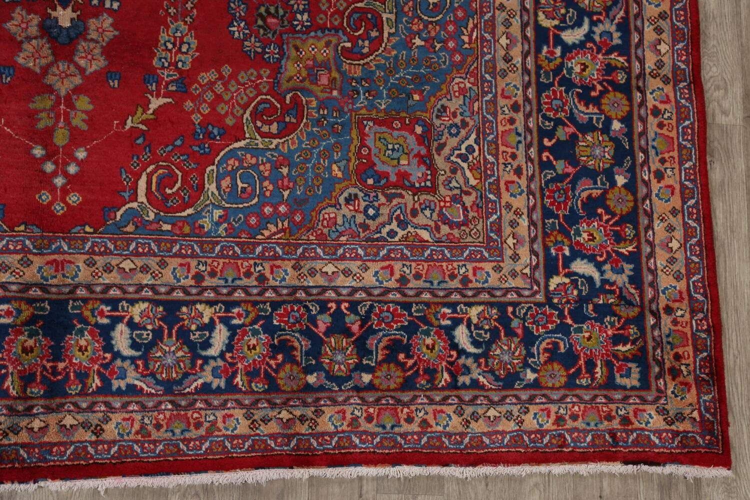 Vintage Floral Red Mashad Persian Area Rug 9x13 image 5