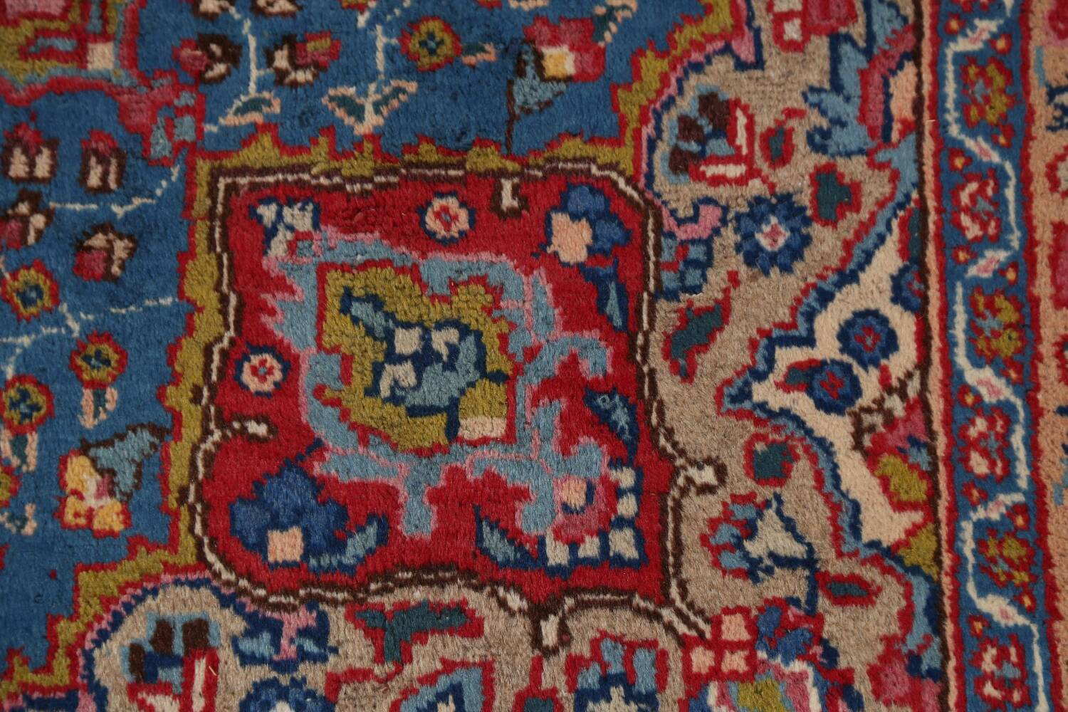 Vintage Floral Red Mashad Persian Area Rug 9x13 image 9