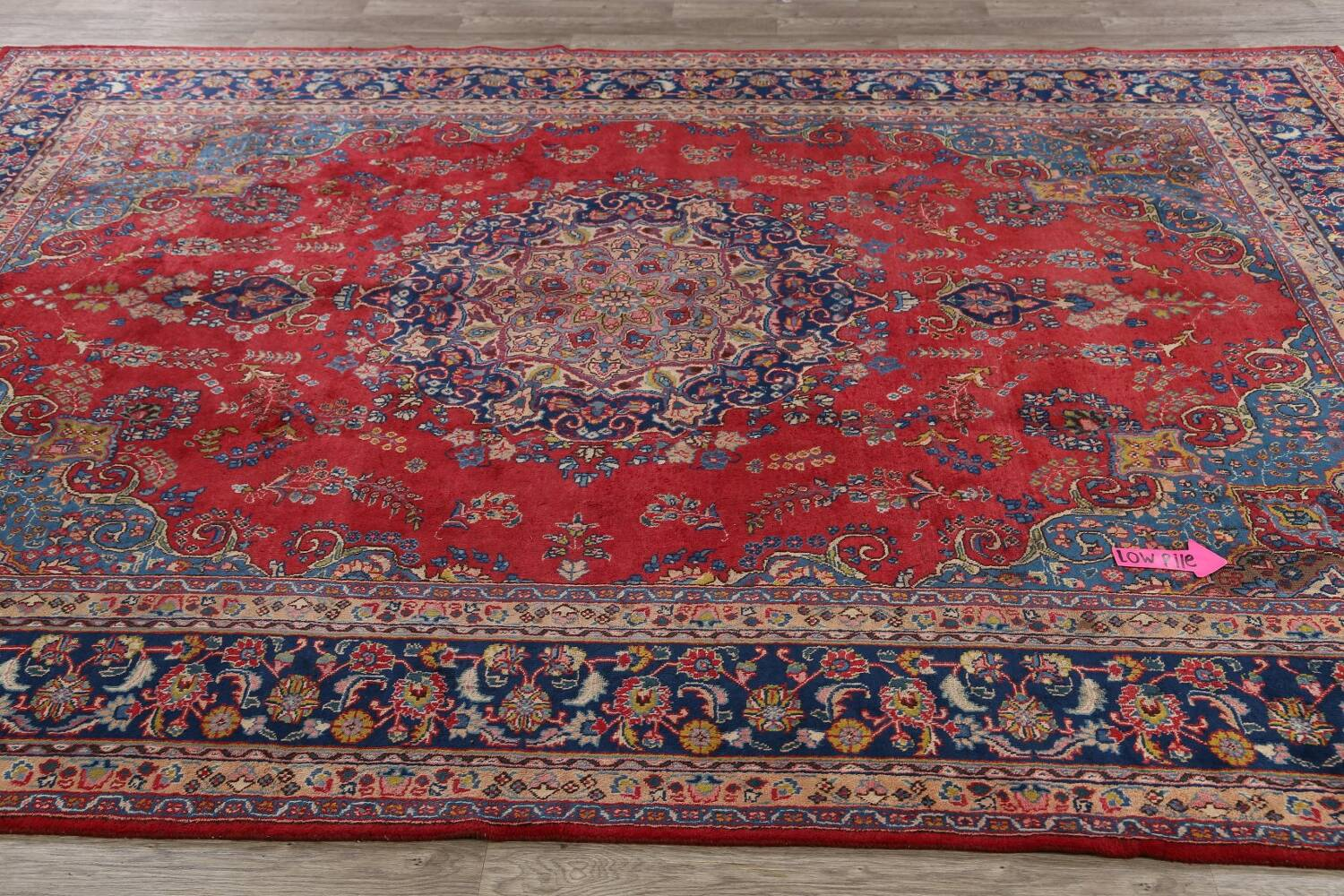 Vintage Floral Red Mashad Persian Area Rug 9x13 image 14