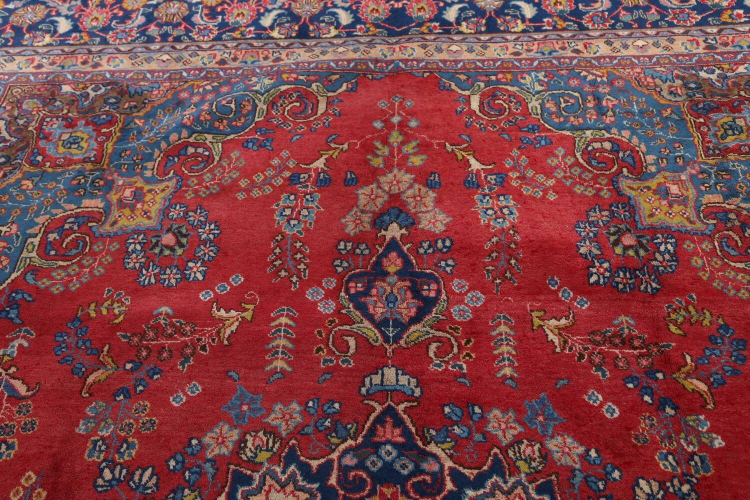 Vintage Floral Red Mashad Persian Area Rug 9x13 image 15
