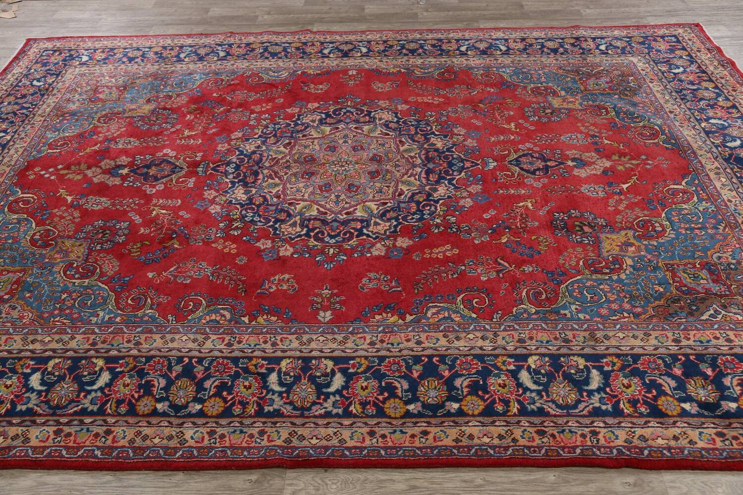 Vintage Floral Red Mashad Persian Area Rug 9x13 image 17