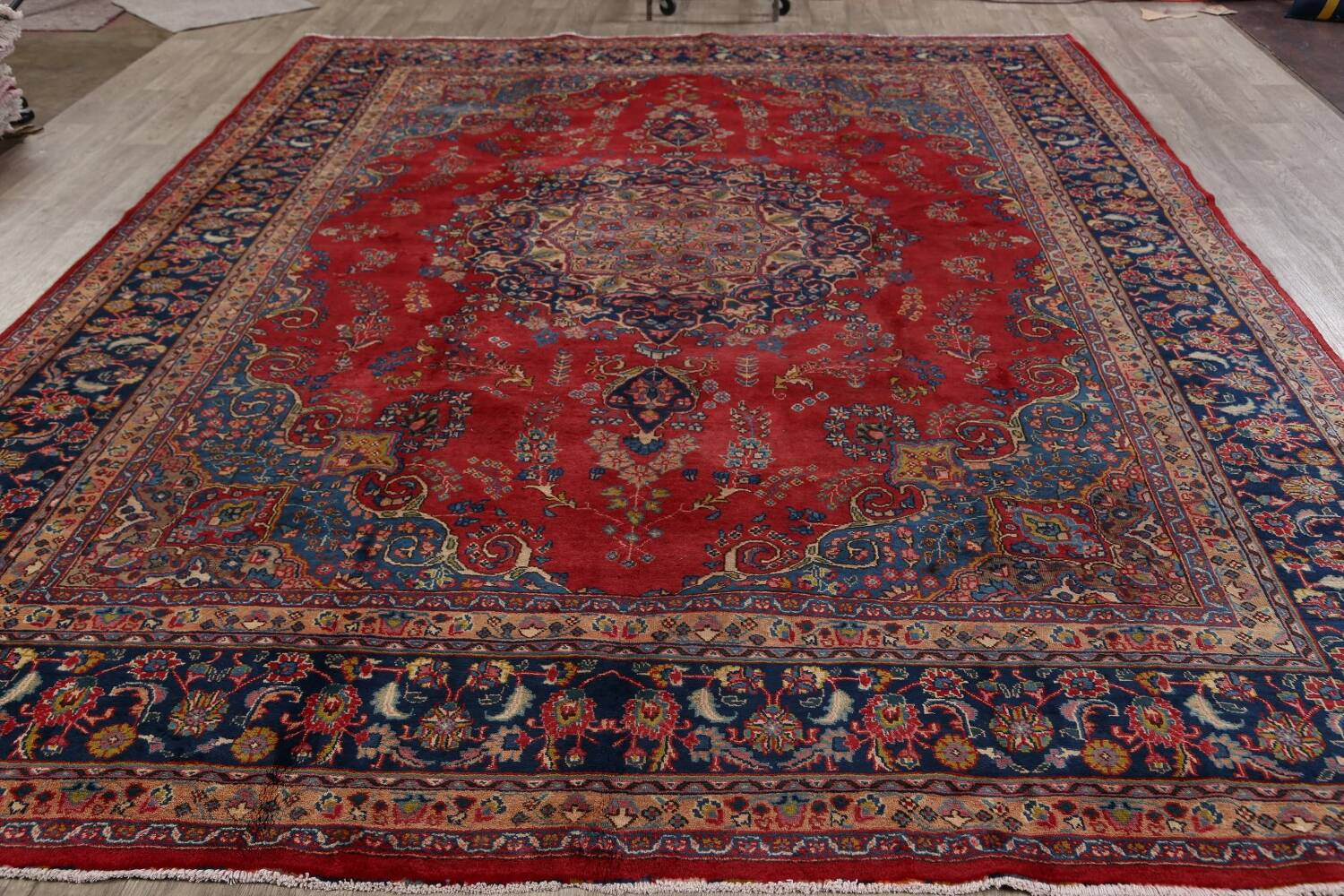 Vintage Floral Red Mashad Persian Area Rug 9x13 image 18