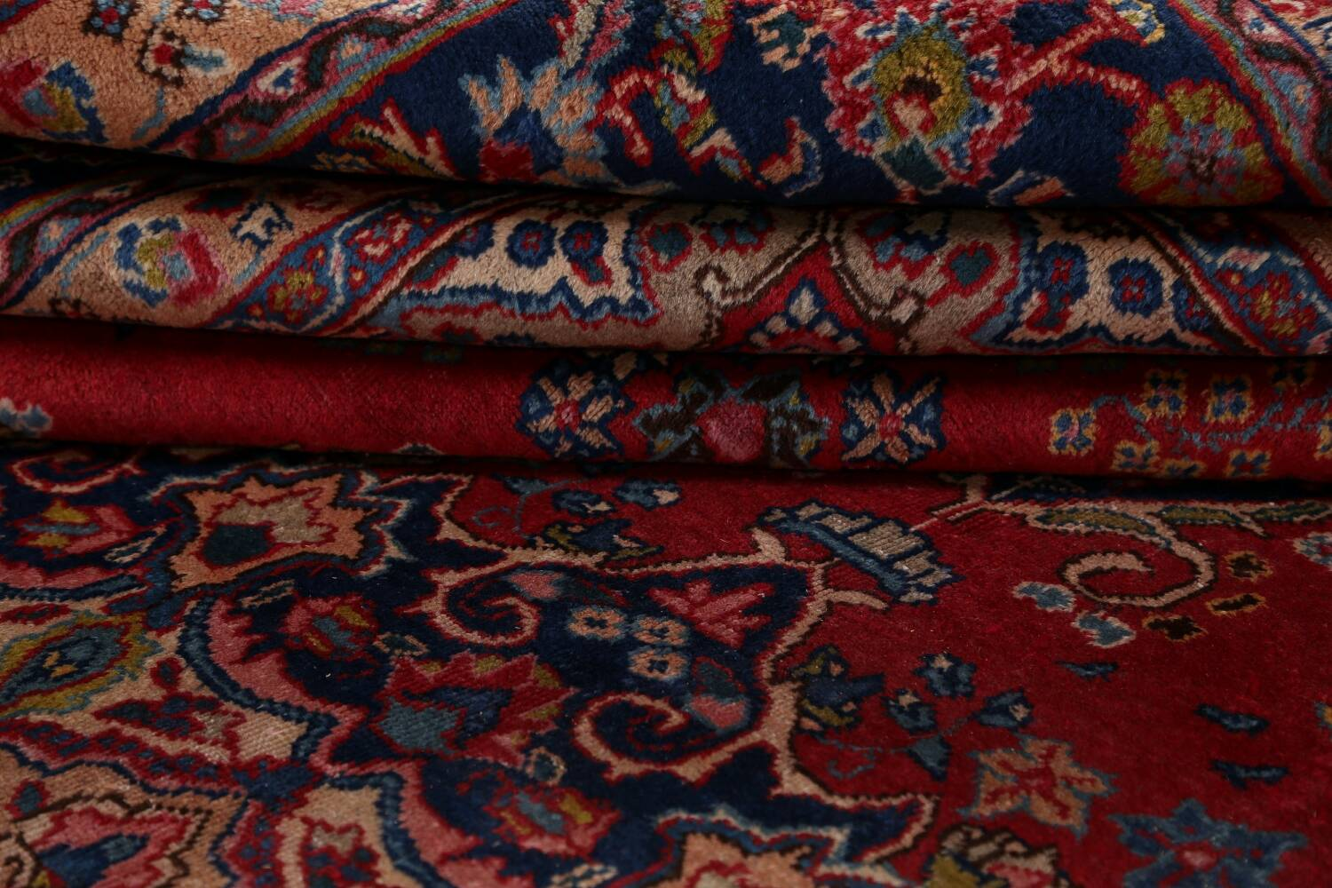 Vintage Floral Red Mashad Persian Area Rug 9x13 image 19