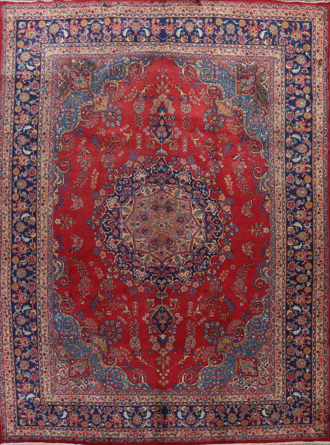 Vintage Floral Red Mashad Persian Area Rug 9x13 image 1