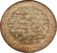 Green Floral Agra Oriental Area Rug 6x6 Round