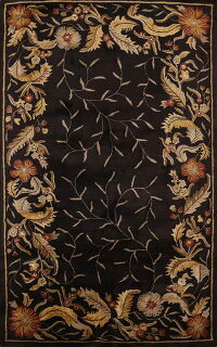 Charcoal Floral Agra Oriental Area Rug 5x8