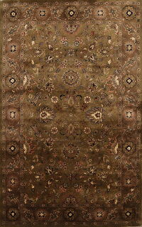 All-Over Green Floral Agra Oriental Area Rug 5x8