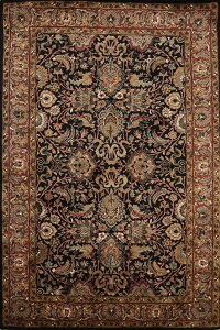 All-Over Black Floral Agra Oriental Area Rug 6x9