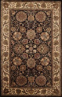 All-Over Floral Black Agra Oriental Area Rug 5x8