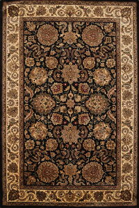 All-Over Black Floral Agra Oriental Area Rug 6x8