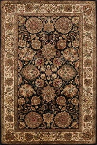 All-Over Black Floral Agra Oriental Area Rug 5x8