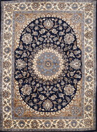 Navy Blue Floral Nain Oriental Area Rug 5x8
