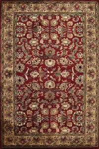 All-Over Red Floral Agra Oriental Area Rug 6x9