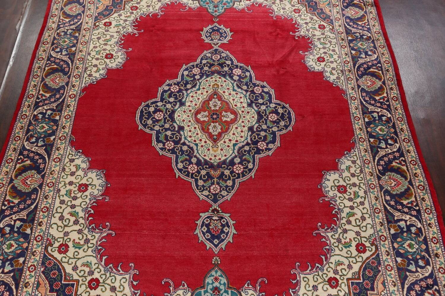 Floral Red Tabriz Persian Area Rug 10x13 image 3