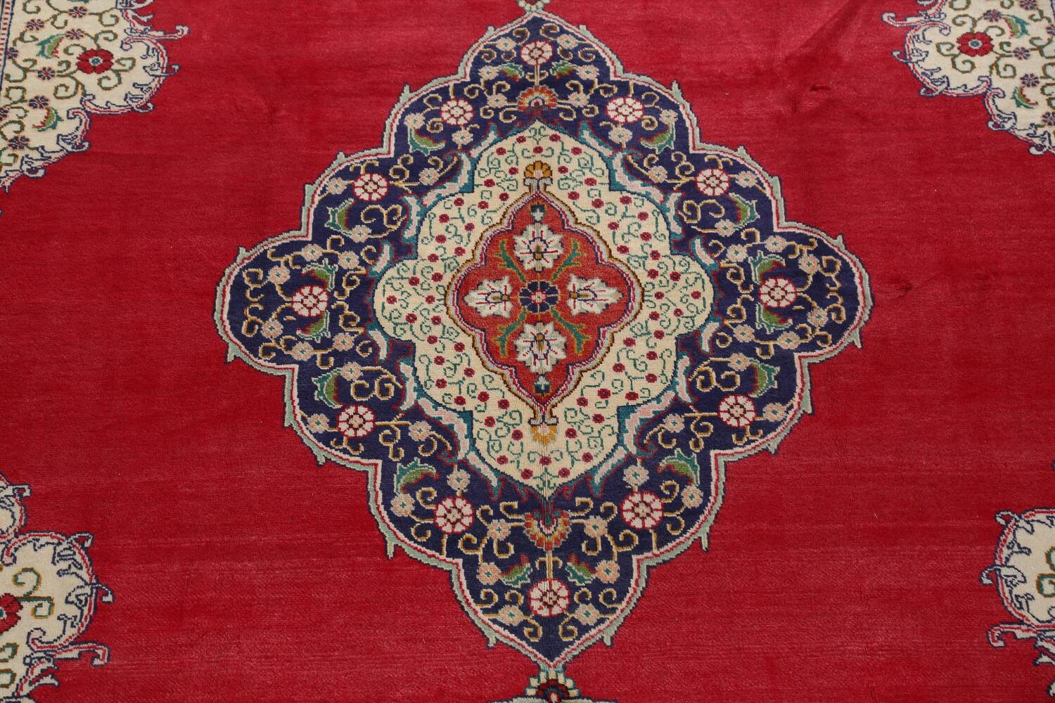 Floral Red Tabriz Persian Area Rug 10x13 image 4
