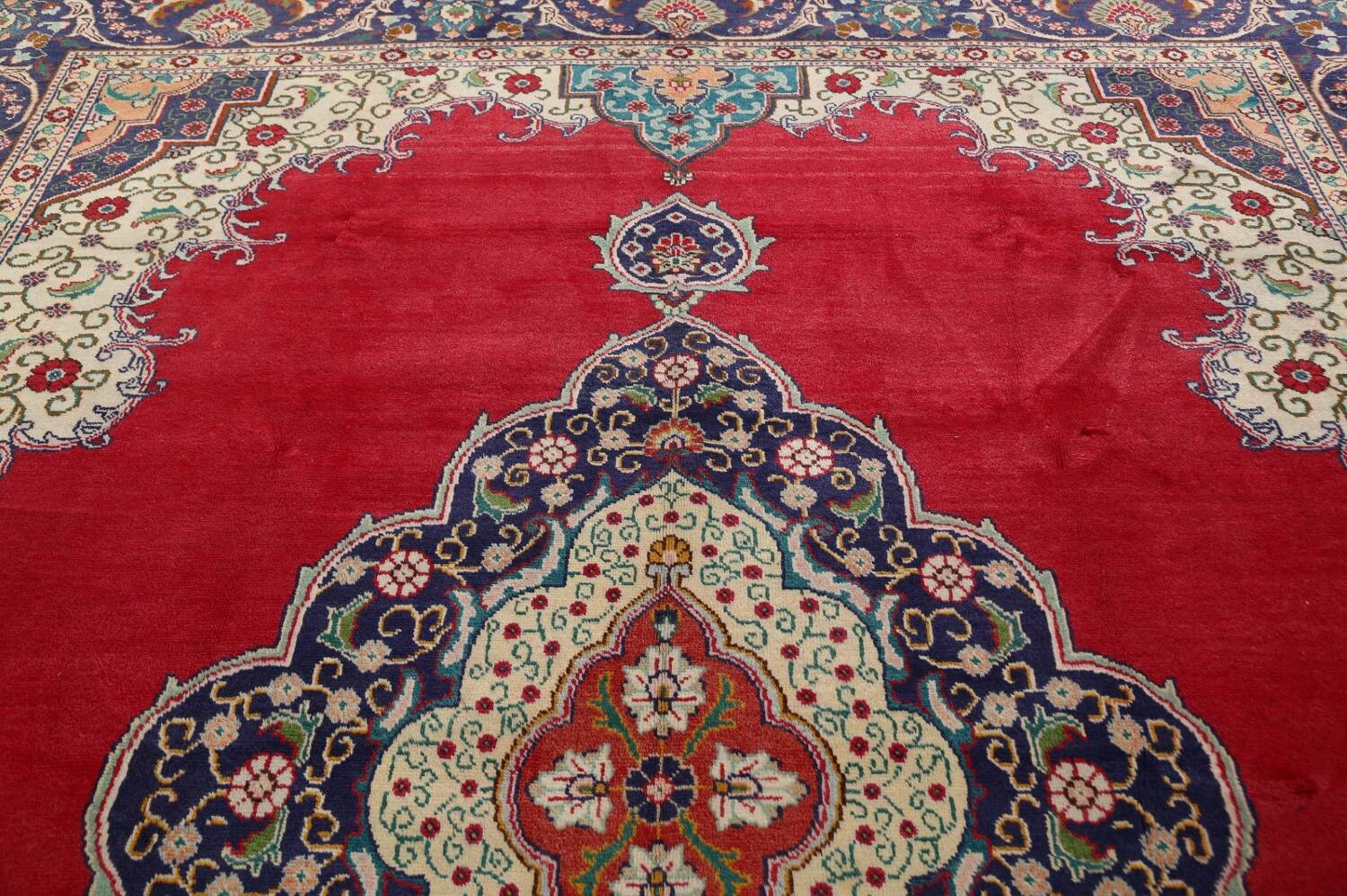 Floral Red Tabriz Persian Area Rug 10x13 image 15