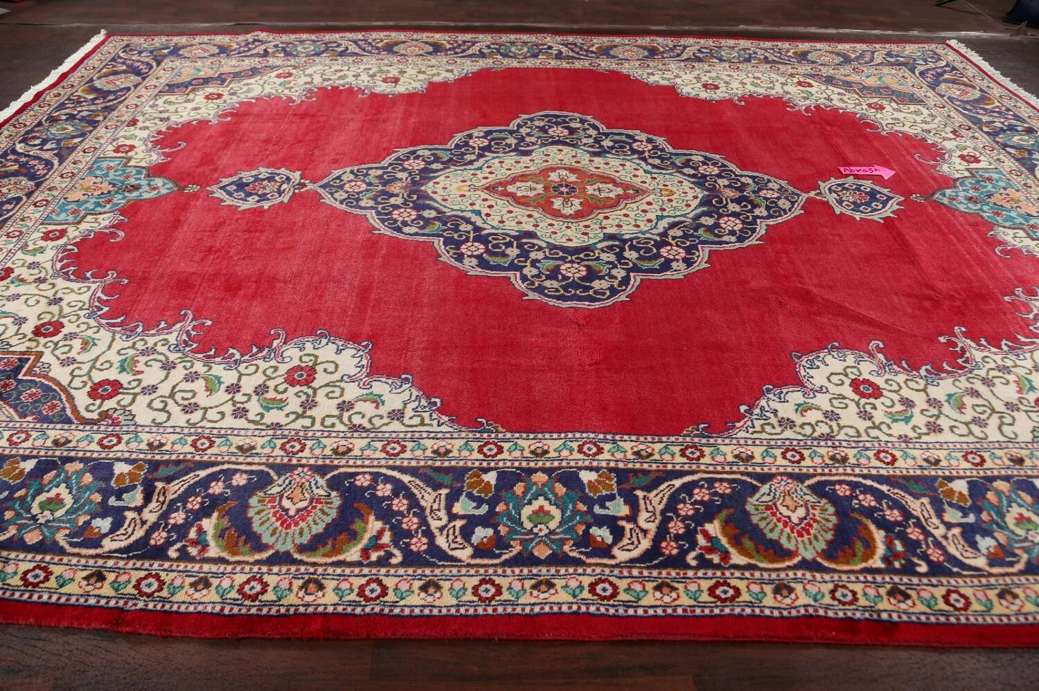 Floral Red Tabriz Persian Area Rug 10x13 image 14