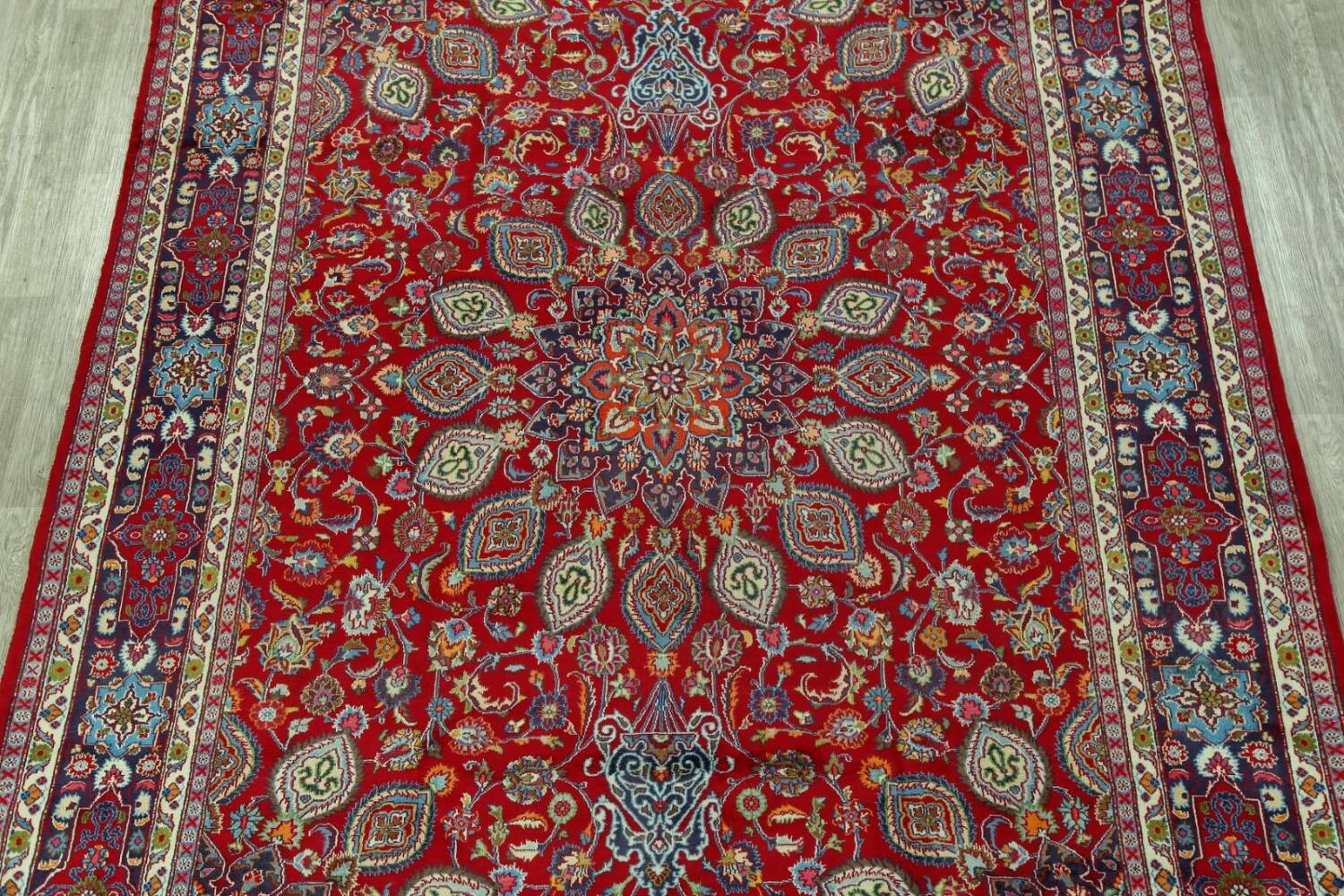 Floral Red Mashad Persian Area Rug 10x13 image 3