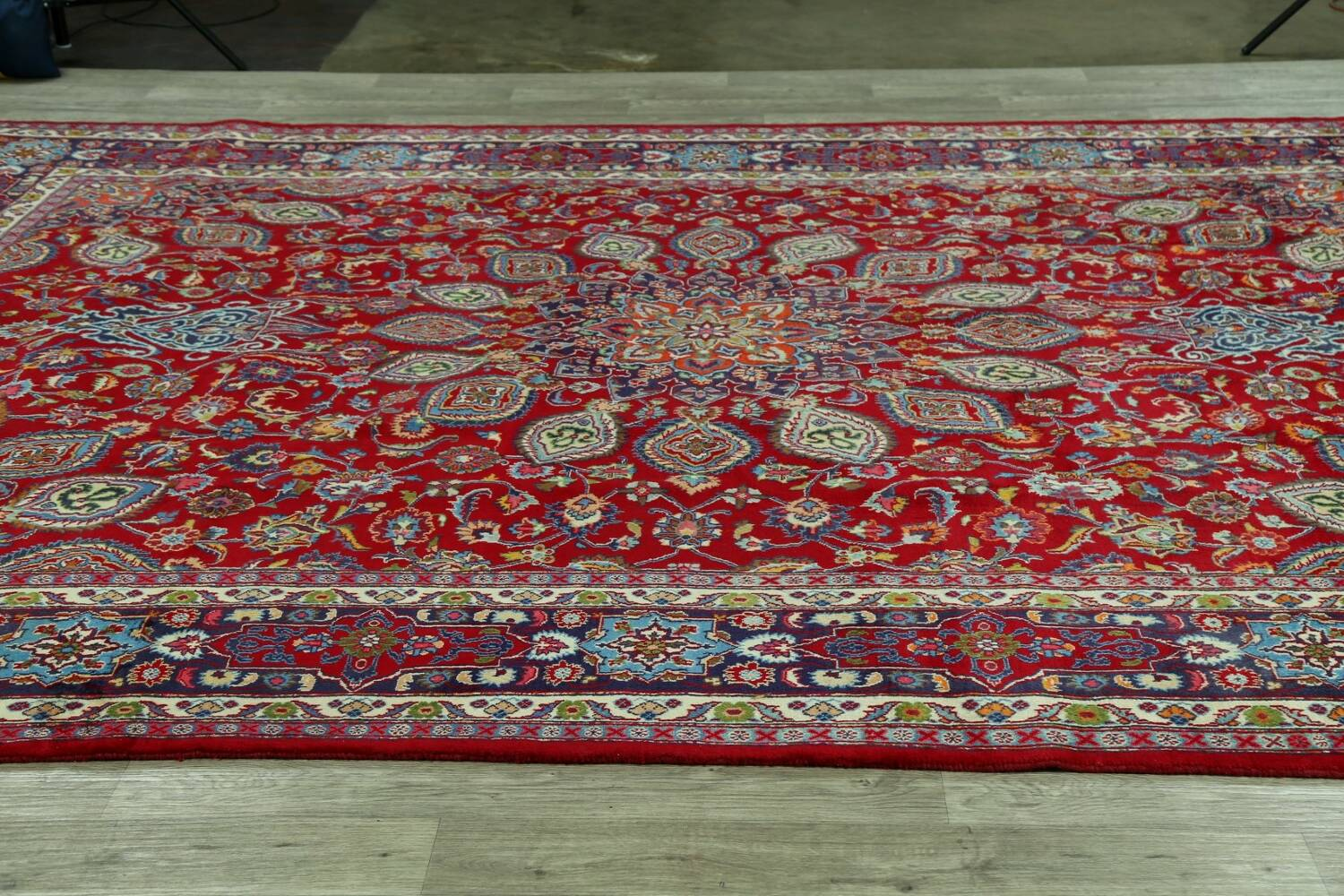 Floral Red Mashad Persian Area Rug 10x13 image 15