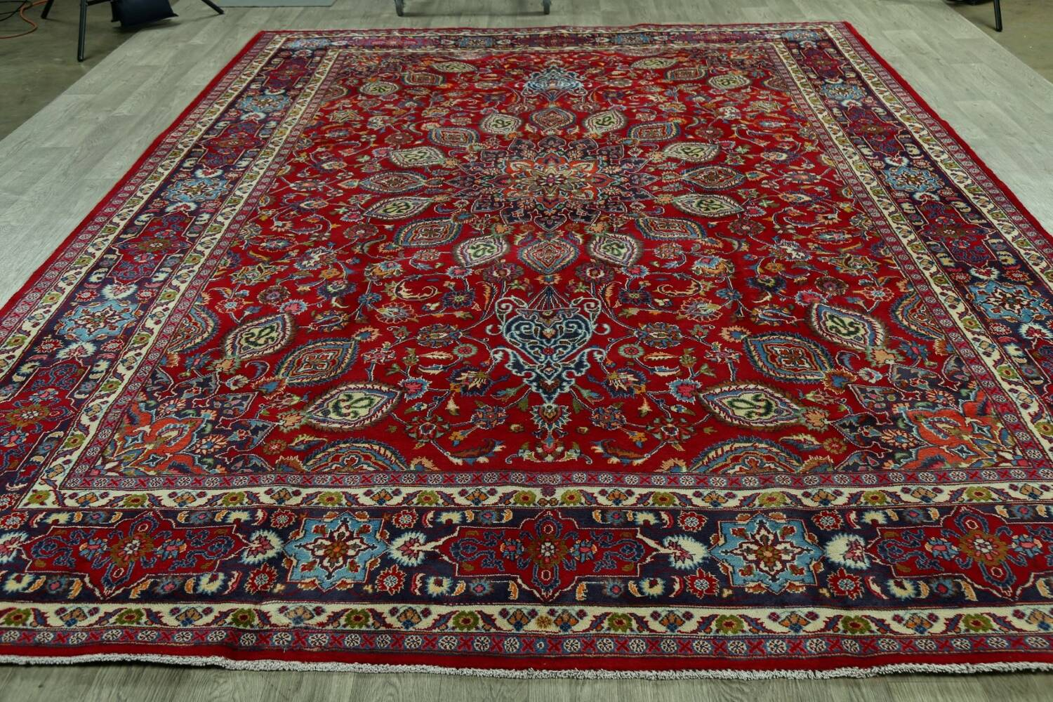 Floral Red Mashad Persian Area Rug 10x13 image 16