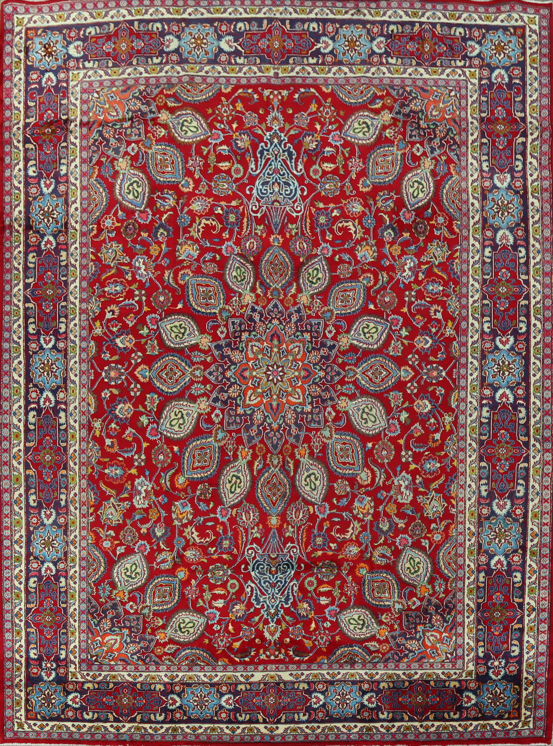 Floral Red Mashad Persian Area Rug 10x13 image 1