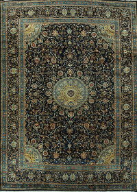 Navy Blue Floral Kashmar Persian Area Rug 10x13