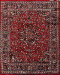 Vintage Floral Red Mashad Persian Area Rug 10x11
