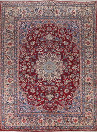 100% Vegetable Dye Floral Red Yazd Persian Area Rug 10x13