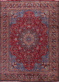 Vintage Floral Red Mashad Persian Area Rug 10x13 image 1