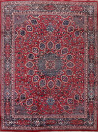 Vintage Floral Red Mashad Persian Area Rug 10x12