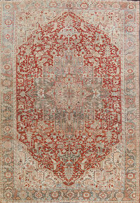 Antique Geometric Red Heriz Persian Area Rug 9x13