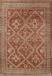 Pre-1900 Antique Vegetable Dye Qashqai Persian Area Rug 8x10