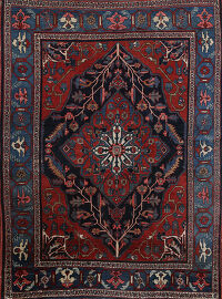100% Vegetable Dye Antique Heriz Serapi Persian Area Rug 4x6