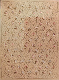 All-Over Floral Needlepoint Chinese Oriental Area Rug 9x12