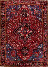 Geometric Red Heriz Serapi Persian Area Rug 9x12