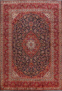 Traditional Navy Blue Floral Kashan Persian Area Rug 9x13
