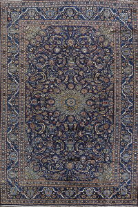 Navy Blue Floral Kashmar Persian Area Rug 8x12