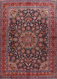 Navy Blue Floral Mashad Persian Area Rug 9x13