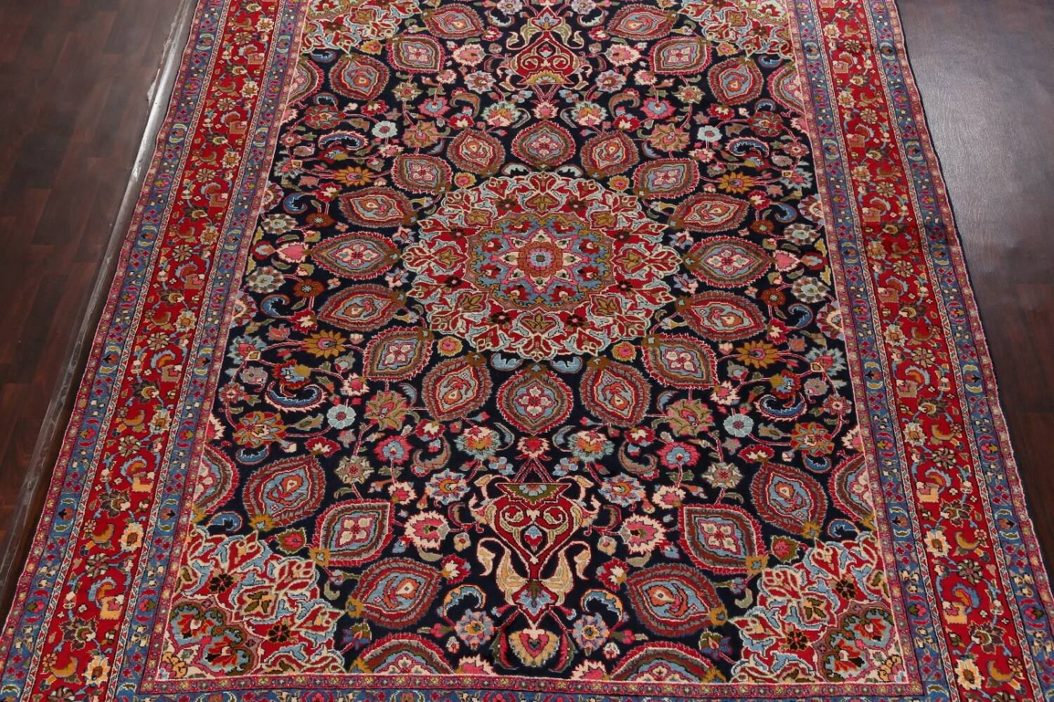 Navy Blue Floral Mashad Persian Area Rug 9x13 image 3