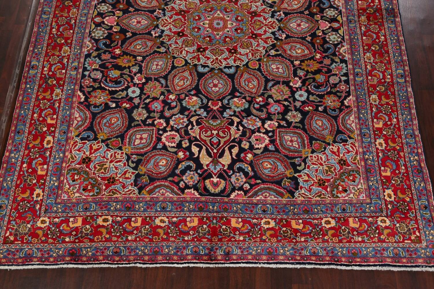 Navy Blue Floral Mashad Persian Area Rug 9x13 image 8