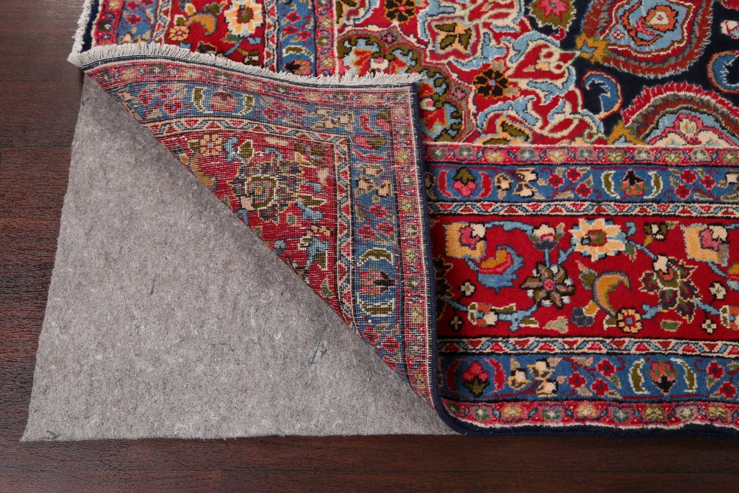 Navy Blue Floral Mashad Persian Area Rug 9x13 image 7