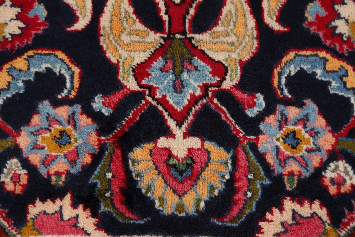 Navy Blue Floral Mashad Persian Area Rug 9x13 image 10